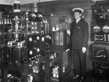 """Electrical Engineer/Inventor Guglielmo Marconi in His Laboratory Aboard Steam Yacht """"Elettra"""""""
