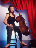 Russian Cellist Nina Kotova in Casual Full Length Portrait with Her Cello