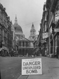 Danger Unexploded Bomb Sign at Cordoned Off Area in Front of St Paul's Church