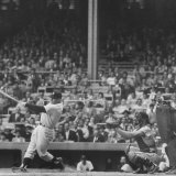 Yankee Mickey Mantle in Action  Swinging Bat with Catcher and Umpire Behind Him