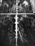 Two Hundred Paratroopers Sitting in Double Decker During Training Maneuvers