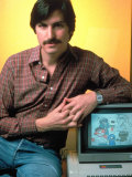 Portrait of Apple Co Founder Steve Jobs Posing with Apple Ii Computer