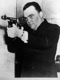 FBI Head J Edgar Hoover Aiming a Thompson Submachine Gun