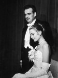 Grace Kelly and Prince Rainier III Attending a Banquet After Announcing Their Engagement