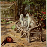 "Kronheim's White Cats Sitting in a Bench Near a Greenhouse  from ""Pussy's London Life"""