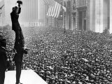 Douglas Fairbanks and Charlie Chaplin in Front of Crowd to Promote Liberty Bonds  New York City