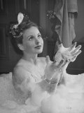 Jeanne Crain Taking Bubble Bath for Her Role in Movie Margie