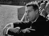Ex Yankee Baseball Player Joe DiMaggio  Leaning over Rail Watching 3rd Game of the World Series
