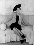 "Elsa Schiaparelli  Wearing the New Napoleon Hat and Jacket of Magenta Called ""Shocking"""
