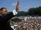 Dr Martin Luther King Jr Addressing Crowd of Demonstrators Outside Lincoln Memorial