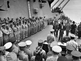 US Officers Line Deck of USS Missouri as Japanese Delegation Prepares to Sign Surrender Documents