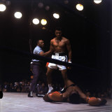 Heavyweight Boxer Cassius Clay  aka Muhammad Ali  Standing over Opponent Sonny Liston