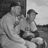 Red Sox's Manger Joe McCarthy and Baseball Player Ted Williams Sitting in Dug Out During Game