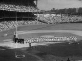 Subway Series: Overall View of Yankee Stadium as the NY Yankees  Umpires and the Brooklyn Dodgers