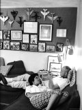Astronaut John Glenn with His Wife Annie Relaxing at Home  Playing a Trumpet