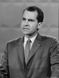 Repub Presidential Candidate Richard Nixon speaks with Dem Candi John Kennedy in TV Studio