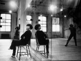 Choreographer Twyla Tharp Observing a Dancer Rehearse Both Reflected in Mirror