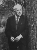 Robert Frost Leaning Against Tree on Campus of Amherst College Where He is a Professor of English