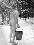 Naked Finnish Soldier Carrying Bucket of Water Back to Friends Enjoying Sauna Bath Nearby