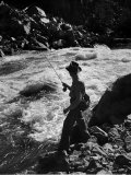 Country Dr Ernest Ceriani Casting into Colorado River to Catch a Few Trout