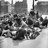 Parisians on Pont D'Arcole Bridge after Nazi Surrender to French Force under Gen Charles de Gaulle