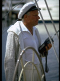 Baron Marcel Bich  sailboat France owner  sporting skipper's cap  during America's Cup trials