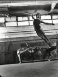 Jean Babilee  Star of Ballets Des Champs Elysees  Leaping During Practice as Other Dancers Watch