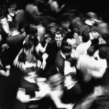 TV Host Dick Clark in Middle of Teenage Dancers on Dance Floor During American Bandstand Show