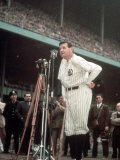 Baseball Great Babe Ruth  Addressing Crowd and Press During Final Appearance at Yankee Stadium