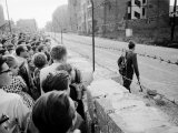 W Berlin Citizens Crowding Against Nascent Berlin Wall in Russian Controlled Sector of the City