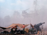 Shirtless American Soldiers of 1st Batt  Erect Canopy over a Sandbagged Position in Vietnam War