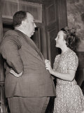 Alfred Hitchcock Talking with His Daughter Patricia