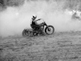 Young Men Racing Motorcycles on Track  Near Detroit  Michigan