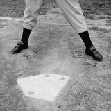 "Close Up of ""Yankee Clipper"" Joe DiMaggio's Legs in Batting Stance at Home Plate"