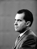 Republican Candidate Richard Nixon During Televised Debate with Democratic Candidate John F Kennedy