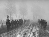 British Infantrymen March Toward Wessen Canal under Heavy German Mortar Fire During Attack  Holland