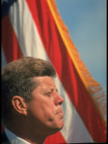 Pres Kennedy in Front of American Flag  Attending Dedication of Trinity River Whiskeytown Dam