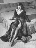 Rita Hayworth Posing Seductively in Sheer  Low Cut Chiffon Negligee