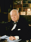 British Politician Sir Winston Churchill  Formal Portrait at Desk