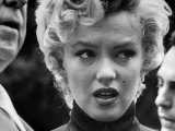 Marilyn Monroe Face Reporters After Announcement Divorce From Baseball Great Joe DiMaggio