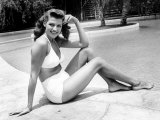 Rita Hayworth Posing in White Two Piece Bathing Suit