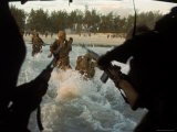 American Soldiers of 7th Marines Coming Ashore Cape Batangan While under Fire During Vietnam War