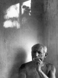 Pablo Picasso  Bare Chested and Smoking Cigarette
