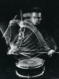 Drummer Gene Krupa Playing Drum at Gjon Mili's Studio Reproduction d'art par Gjon Mili