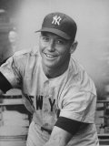 Good Smiling Portrait of NY Yankees Outfielder Mickey Mantle in Away Gray NY Uniform