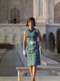 First Lady Jackie Kennedy Standing on the Grounds of the Taj Mahal During Visit to India