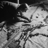 Burlap Landscape Being Sewed by WVS Ladies for Use by Royal Air Force