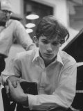 Pianist Glenn Gould Listening Intensely to Performance of Bach's Goldberg Variations Played Back