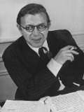 Playwright Jean Paul Sartre at His Home in Paris