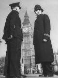 Chief Inspector of Metropolitan Police Stopping for Word with Police Constable in Parliament Square